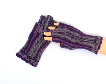 Half Finger Gloves Purple Gray Ladies Half Finger Gloves Wrist Warmers Hand Warmers Arm Warmers Crochet Gloves Fingerless Gloves Gift Idea