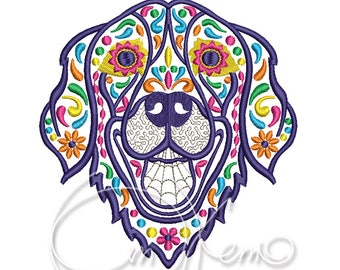 MACHINE EMBROIDERY DESIGN - Calavera Golden Retriever, Dia de los muertos, calavera dog, day of the dead, Golden Retriever