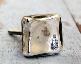 Mercury Glass Knob - Square Drawer Knob - Cabinet Knob - Glass Knob - Vintage Dresser Knob - Shabby Chic -  Furniture Knob -  Drawer Pull