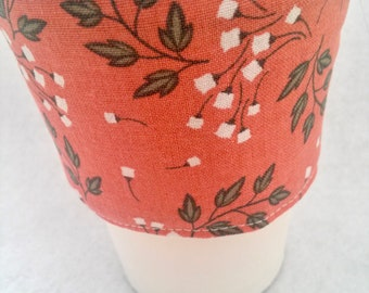 Coffee Cozy, Coffee sleeve, Coffee Cup Cozy, Peach Floral Coffee Cozy,Pale Terra Cotta Coffee Cup Cozies,Floral Coffee Cozy,
