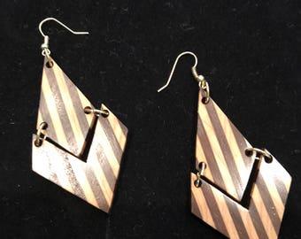 Walnut and Maple Wood Earrings