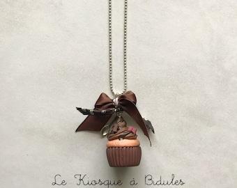 Collier - Cupcake chocolat en fimo