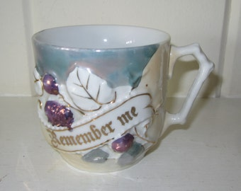 Vintage Lusterware REMEMBER ME Mug/Cup with Gold Accents