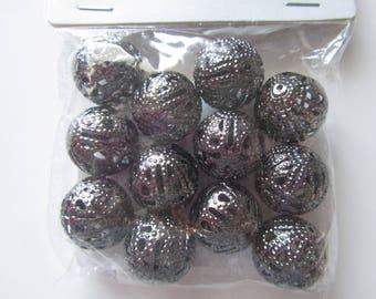 Bag of 12 grey perforated metal color - 2 cm beads