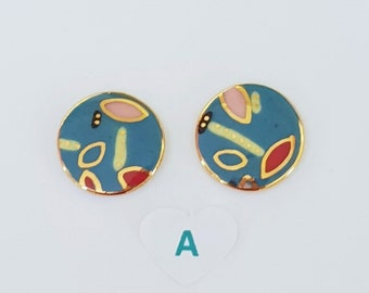 Colourful porcelain round studs with gold detailing