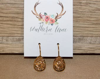 Gold Teardrop Druzy Earrings