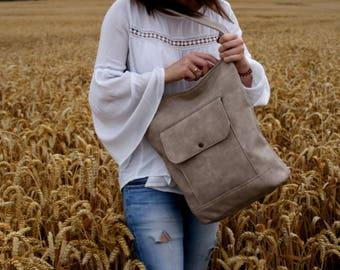Vintage sack vegan / simple minimal / fake leather / faux leather / bag / crossbody / shoulder bag / school / boho bohemian / everyday