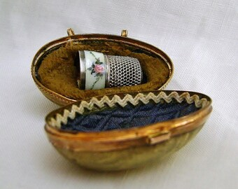 HOLD FOR CHRIS Antique Victorian Chatelaine Metal Egg Thimble Case with Sterling Enamel Thimble