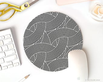 modern mouse pad | round mousepad | mouse pad geometric | mouse pad black and white | cute desk accessories | office accessories