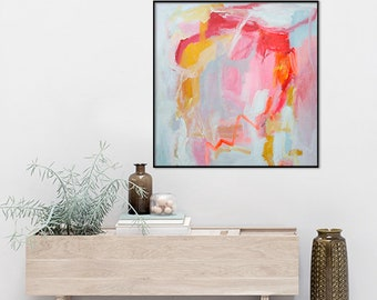 Pink grey abstract art, abstract print, square pink grey painting, Printable poster, Pink abstract poster, Modern abstract, Instant download