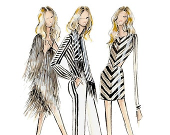 Rachel Zoe-Resort Collection-Fashion Print-Fashion Illustration-Black and White-Fashion Sketches-Brooke Hagel-Brooklit