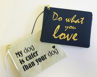Buy ANY 2 PURSES - Choose any 2 pouches of your choice! Zippered Purse, Zip Pouch, Makeup Pouch, Screen print, Bridesmaid gifts, Pouch