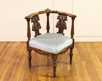 Carved English Corner Chair