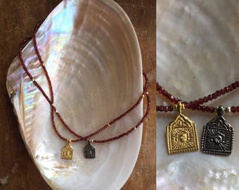 Surya Garnet Amulet necklace