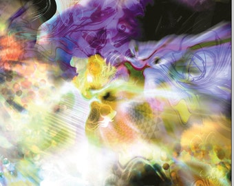 Canvas Print - 48x 22.5cm - 'Utopia - black' - Abstract Organic Psychedelic visionary colourful trippy festival fantasy illustration.