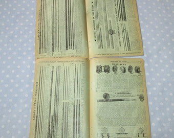 Antique French Catalog Pages Yellow Aged Paper Ephemera Fishing Cane Poles Rods Nets Double Sided - Vintage (lot X)