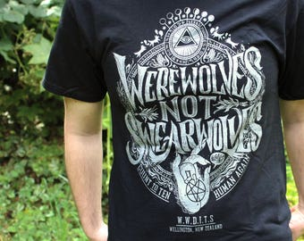 Werewolves Not Swearwolves Shirt | What We Do In The Shadows Shirt | Black & Silver What We Do In The Shadows T-Shirt