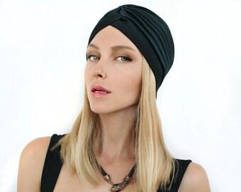 Women  Black Turban Hat