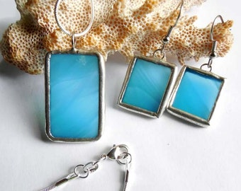 Turquoise Stained Glass Earrings and Pendant Set