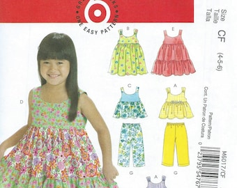 Toddler's & Children's Tops, Dresses, Shorts and Pants Pattern by McCall's #6017, Sizes:  1-3, uncut