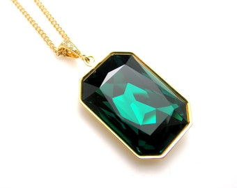 Swarovski Emerald green vintage rectangle foiled crystal rhinestone pendant with gold plated chain slider adjustable necklace