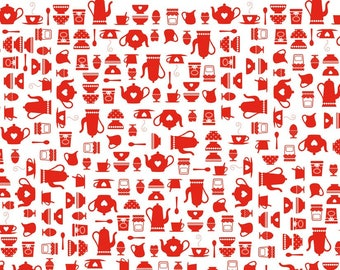 Set of 2 sheets to stick red breakfast