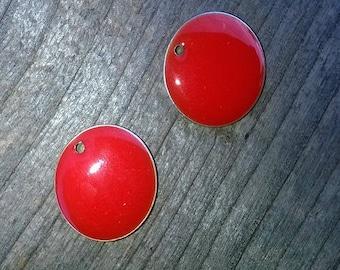 4 lovely sequins enamelled 2 sides red orange 15mm
