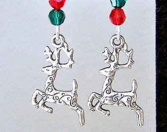 Adorable reindeer earrings, Christmas earrings, Swarovski crystal reindeer earrings, antiqued silver, Swarovski crystal earrings