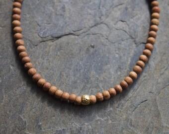 Sandalwood bracelet, yoga sandalwood bracelet, wood beaded bracelet, sandalwood gold bracelet, stacking gold bracelet, layering bracelet
