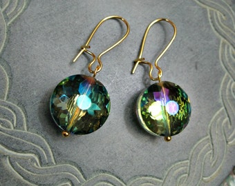 Aurora Borealis Faceted Glass Crystal Earrings Spectrum Dangle Jewelry small