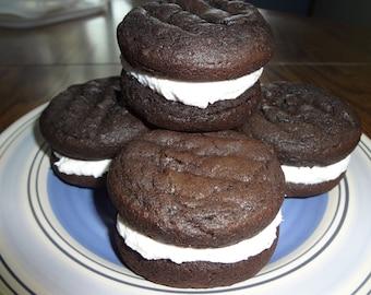 Soft & Creamy Homemade Dark Chocolate Whoopie Pies (30 Cookies)