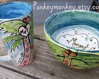 Personalized custom mug and bowl Set personalized ice cream bowl popcorn bowl custom bowl custom cereal bowl coffee mug 9th anniversary dad