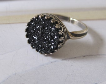Black Druzy Agate Ring