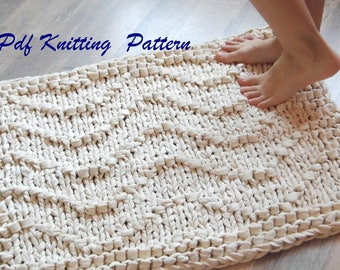 PDF KNITTING PATTERN rug Waves