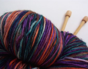 Merino Wool Yarn, Superwash, Hand Painted in Autumn Jewel Colors, Kona