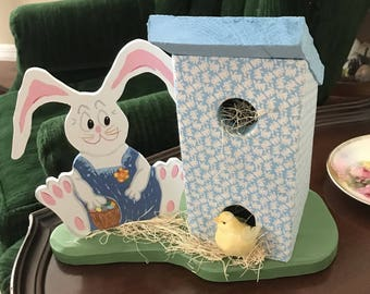 Decorative Easter Bunny with Chick and House by Sniffwhiskers