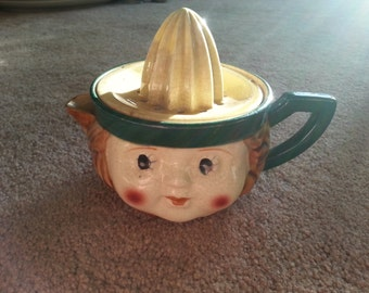 VERY OLD RARE Girl Head Two Piece Juicer Japan