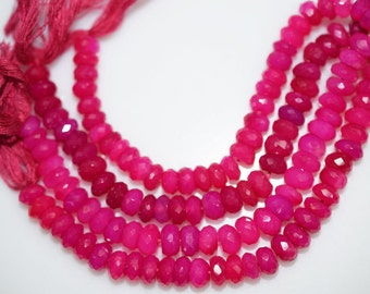 Natural Hot Pink Chalcedony Faceted Rondelle Beads 5 Inch Strand ,Hot Pink Chalcedony Rondelle Beads , 7-8 mm - MC274