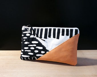 Pouch bag with zipper, Vegan leather bag, Large pencil case, Small makeup bag, Black and white pouch with zipper, Pochette, Zipper pouch