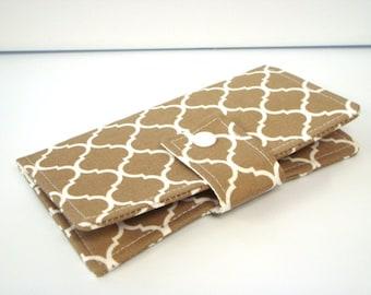 Fabric Checkbook Cover, Checkbook Holder Cash Holder - Khaki Lattice Quatrefoil