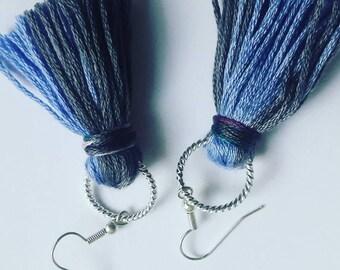 Grey & Blue Tassel Earrings