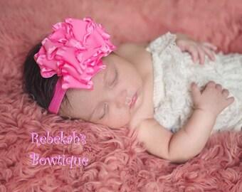 Hot Pink baby headband, double ruffle hair bows, infant headband, newborn headband, photo shoot, pink headband, newborn girl, hair bows