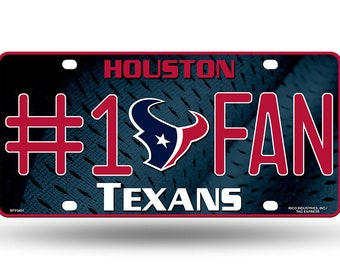 Houston Texans NFL #1 Fan Metal License Plate/ Auto Tag