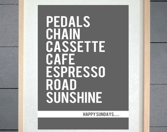 EllieBeanPrints Happy Sundays Road Cycling Print - Various Sizes