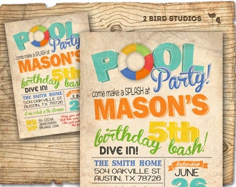 Pool party birthday invitation - summer birthday invitation for pool party - Vintage invite DIY printable pool party invitation