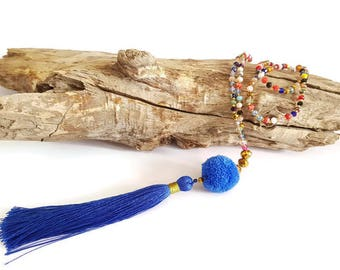 Necklace long blue tassel