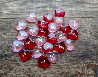 Elder Futhark Rune Set – Red & Pink Hearts