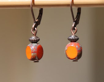 Orange Earrings Jewelry Dangle Earrings Drop Earrings Czech Glass Earrings Boho Chic Earrings Small Earrings Gift For Her Gift for women