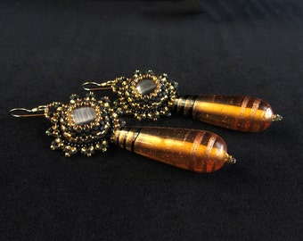 Modern Gold and Black Large Drop Beadwoven Earrings