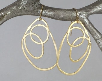 Long Gold Freeform Circle Earrings,  Gold Drop Earrings, Gold Earrings, Earrings, Simple Gold Earrings, Drop Earrings